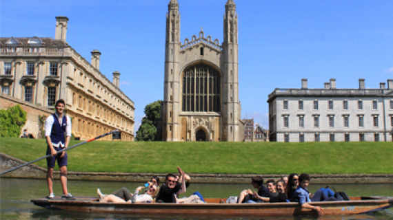 A group punting on the river in Cambridge
