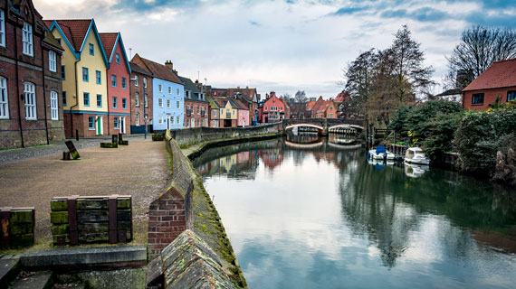 Norwich sits alongside the river Wensum